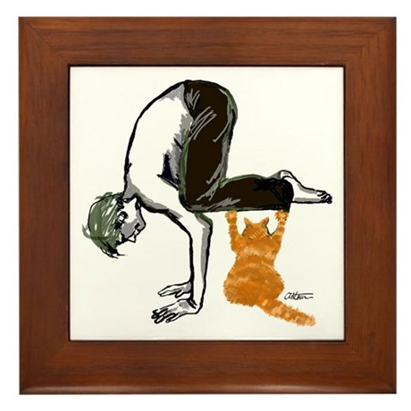 yoga man buddy Framed Tile
