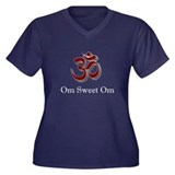 Om sweet Om Women's Plus Size V-Neck Dark T-Shirt