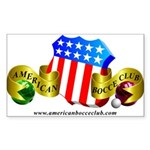 Official American Bocce Club Rectangle Sticker