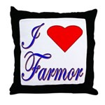 I Love Farmor Throw Pillow