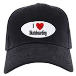 I Love Skateboarding Black Cap