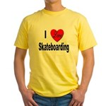 I Love Skateboarding Yellow T-Shirt