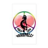 Peace Love Kokopelli Rectangle Decal