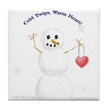warm-hearted snowman Tile Coaster