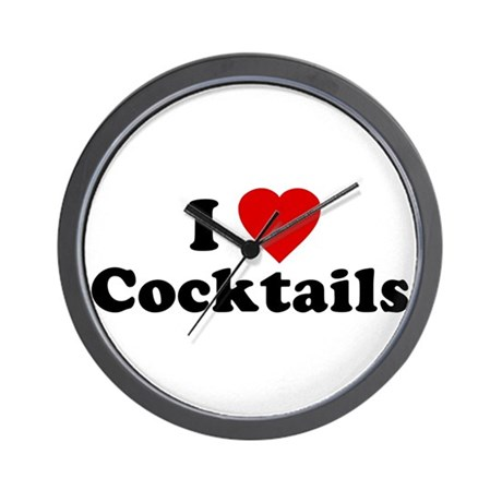 I Love [Heart] Cocktails Wall Clock