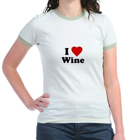 I Love [Heart] Wine Jr Ringer T-Shirt