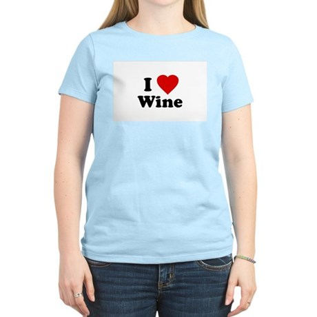 I Love [Heart] Wine Womens Pink T-Shirt