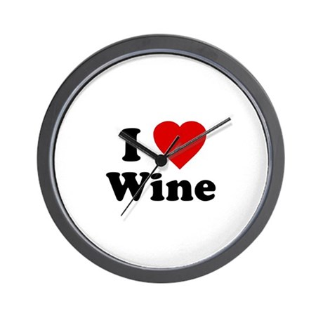 I Love [Heart] Wine Wall Clock