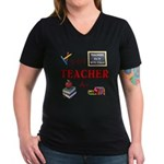 Teachers Do It With Class Women's V-Neck Dark T-Sh