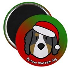 Cartoon Bernese Mountain Dog Christmas Magnet