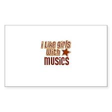 I Like Girls with Musics Rectangle Decal