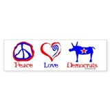 Peace Love Democrats Bumper Bumper Sticker