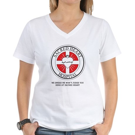 Sacred Heart Hospital Womens V-Neck T-Shirt