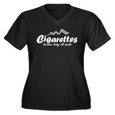 Cigarettes Women's Plus Size V-Neck Dark T-Shirt