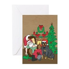 Santas Rottweiler Christmas Greeting Cards (Pk of