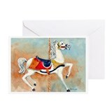 Carousel white Horse Greeting Cards (Pk of 20)