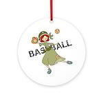 Girl Baseball Player Ornament (Round)