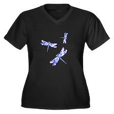 Dragonflies Women's Plus Size V-Neck Dark T-Shirt