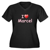 I Love Marcel (P) Women's Plus Size V-Neck Dark T-