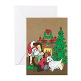Santa Has A Westie Christmas Greeting Cards (Pk of
