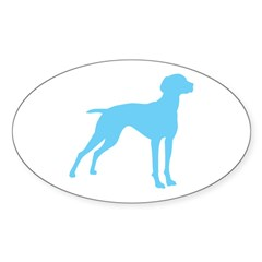 Blue Vizsla Dog Oval Sticker