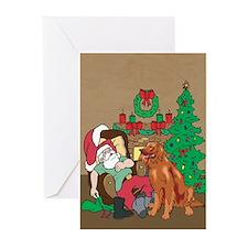 Santa Has An Irish Setter Christmas Greeting Cards