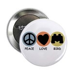 Peace Love Bird Button