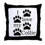 Collie Paw Prints Throw Pillow