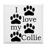 Collie Paw Prints Tile Coaster