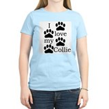 Collie Paw Prints Women's Pink T-Shirt