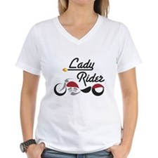 Red Bike Lady Rider Shirt