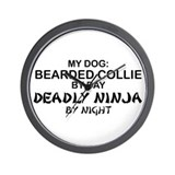 Bearded Collie Deadly Ninja Wall Clock