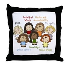Young Women Values Throw Pillow