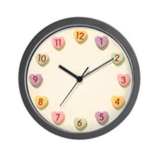 Retro Candy Hearts Love Wall Clock