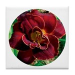 Night Embers Daylily Tile Coaster