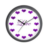 Purple Hearts Clock Wall Clock