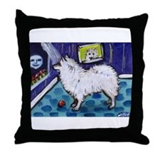 American Eskimo Dog cs moon Throw Pillow