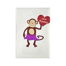 Love Monkey Girl Heart Rectangle Magnet