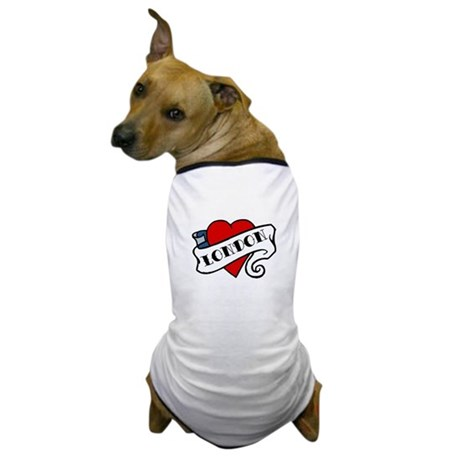 London tattoo heart Dog T-Shirt