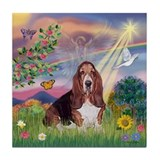Cloud Angel & Basset Tile Coaster
