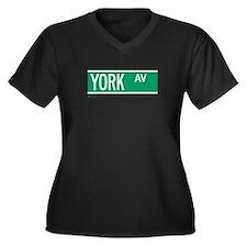 York Avenue in NY Women's Plus Size V-Neck Dark T-
