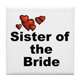 Hearts Sister of the Bride Tile Coaster