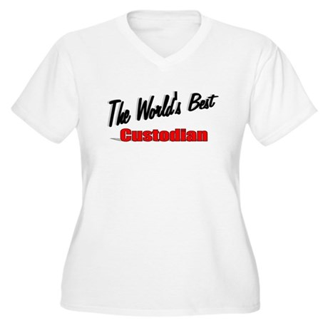 """The World's Best Custodian"" Women's Plus Size V-N"