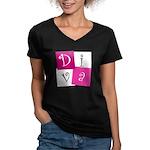 DIVA Design! Women's V-Neck Dark T-Shirt