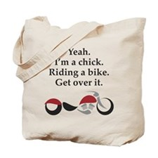Chick Riding Bike Tote Bag