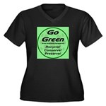 Go Green Style 2008 Women's Plus Size V-Neck Dark