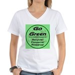 Go Green Style 2008 Women's V-Neck T-Shirt