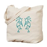 Kokopelli Vintage Teal Tote Bag
