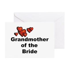 Hearts Grandmother of the Bride Greeting Cards (Pk