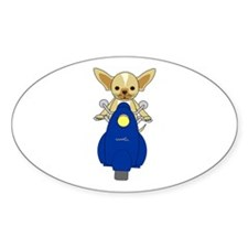 Small But Mighty Scooter Dog Oval Decal